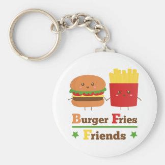 La hamburguesa del dibujo animado de Kawaii fríe a Llavero Redondo Tipo Pin