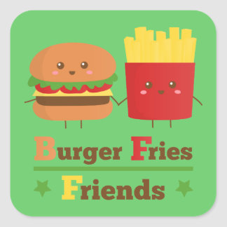 La hamburguesa del dibujo animado de Kawaii fríe a Pegatina Cuadrada