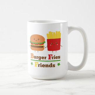 La hamburguesa del dibujo animado de Kawaii fríe a Tazas De Café