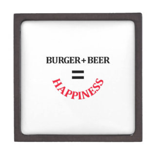 La hamburguesa más la cerveza iguala felicidad caja de recuerdo de calidad