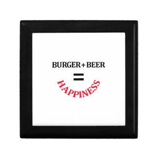 La hamburguesa más la cerveza iguala felicidad caja de recuerdo
