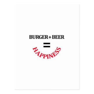 La hamburguesa más la cerveza iguala felicidad tarjetas postales