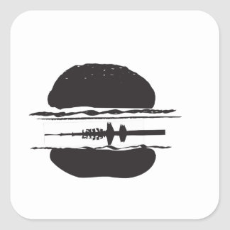 La hamburguesa pegatina cuadrada