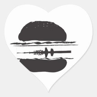 La hamburguesa pegatina en forma de corazón