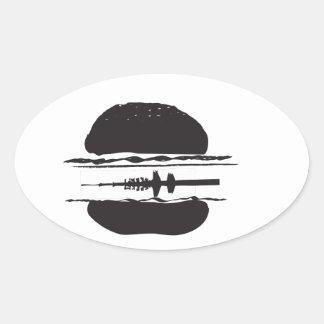 La hamburguesa pegatina ovalada