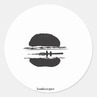 La hamburguesa pegatina redonda
