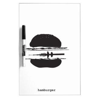 La hamburguesa pizarra blanca