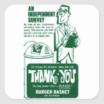 La hamburguesa retra de los alimentos de pegatina cuadrada