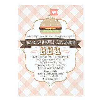 La hamburguesa rosada junta invitaciones de la invitación 12,7 x 17,8 cm