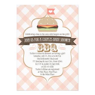La hamburguesa rosada junta invitaciones de la fie