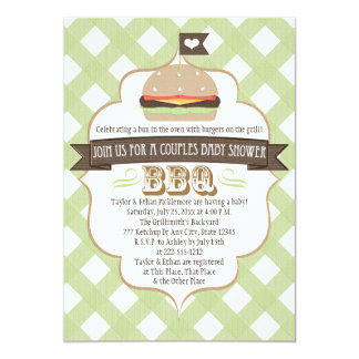 """La hamburguesa verde junta invitaciones de la invitación 5"""" x 7"""""""
