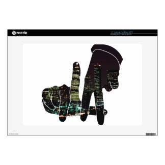 "LA hands skyline 15"" Laptop Decal"