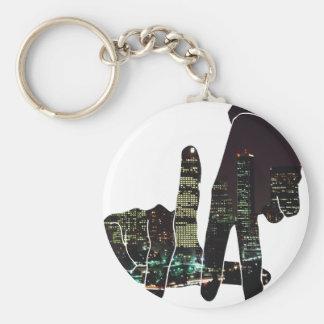 LA hands skyline Basic Round Button Keychain