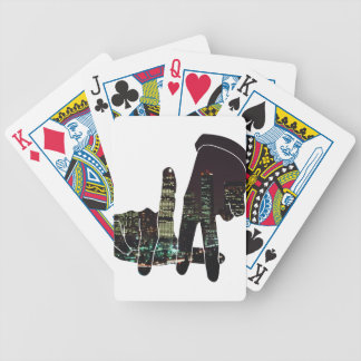LA hands skyline Bicycle Playing Cards