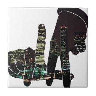 LA hands skyline Ceramic Tile