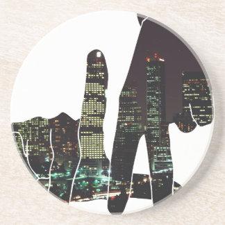 LA hands skyline Drink Coaster
