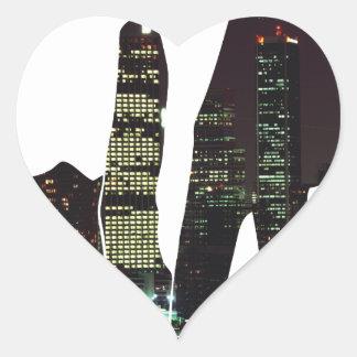 LA hands skyline Heart Sticker