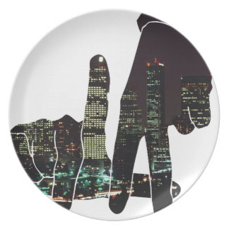 LA hands skyline Melamine Plate
