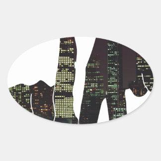 LA hands skyline Oval Sticker