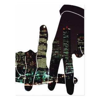 LA hands skyline Postcard
