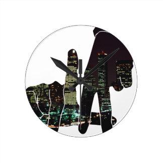 LA hands skyline Round Clock