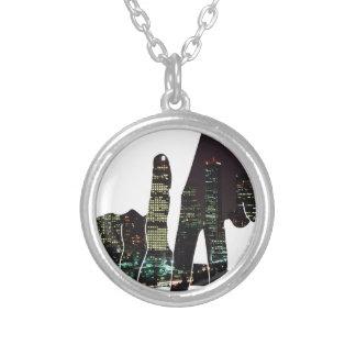 LA hands skyline Round Pendant Necklace