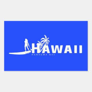 La hawaiana Hawaii se coloca para arriba de Rectangular Pegatinas