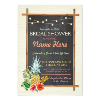 """La hawaiana tropical enciende tiza que la ducha invitación 5"""" x 7"""""""