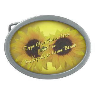 La hebilla del cinturón del girasol personaliza la hebilla de cinturon oval