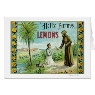 La hélice cultiva el limón LabelSan Diego, CA Tarjetón