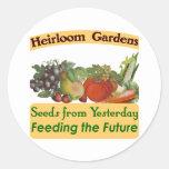 La herencia cultiva un huerto las etiquetas de la etiqueta redonda