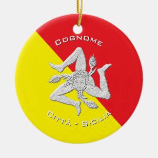 La herencia siciliana personaliza adorno navideño redondo de cerámica