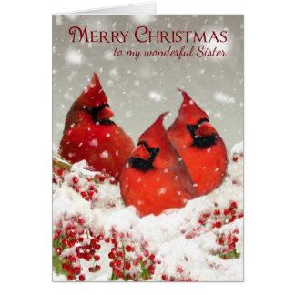 La hermana, aceite pintó a cardenales rojos en tarjeta de felicitación