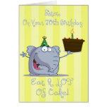 La hermana come más 70.a tarjeta de cumpleaños de