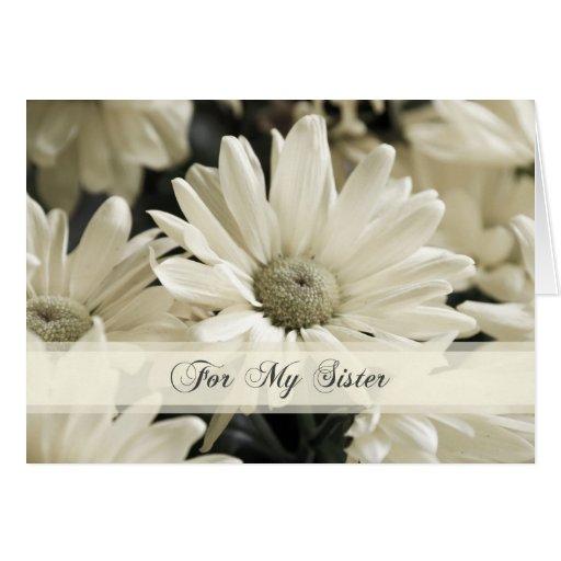 La hermana de las flores blancas le agradece criad tarjeta de felicitación