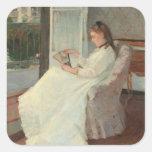 La hermana del artista en una ventana, 1869 calcomanias cuadradas