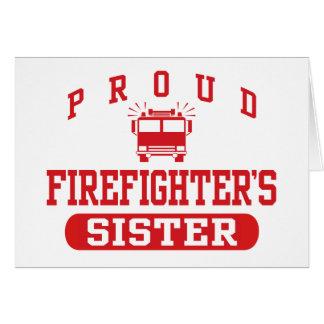La hermana del bombero tarjeta de felicitación