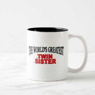La hermana gemela más grande del mundo tazas