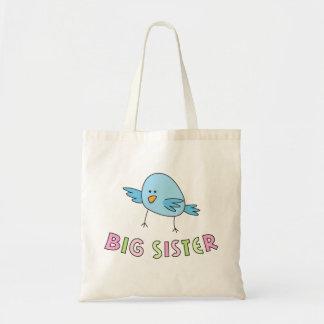 La hermana grande embroma la bolsa de asas, pájaro