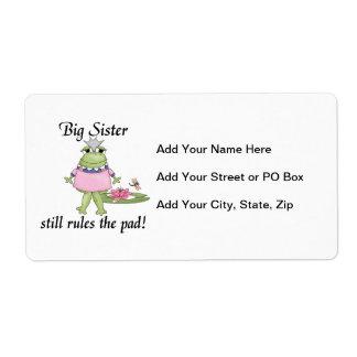 La hermana grande gobierna los regalos del cojín etiquetas de envío