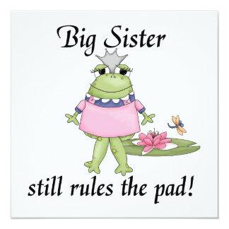 """La hermana grande gobierna los regalos del cojín invitación 5.25"""" x 5.25"""""""