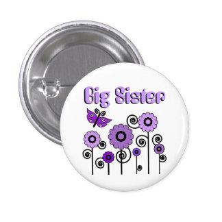 La hermana grande, las flores púrpuras con la mari pin redondo de 1 pulgada