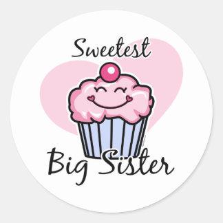 La hermana grande más dulce pegatina redonda