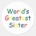 La hermana más grande de los mundos pegatina redonda