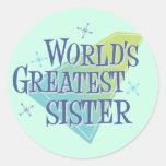 La hermana más grande del mundo pegatina redonda