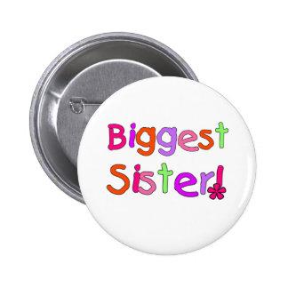 La hermana más grande del texto brillante pin redondo 5 cm