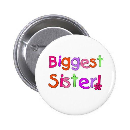 La hermana más grande del texto brillante pin redondo de 2 pulgadas