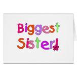 La hermana más grande del texto brillante tarjeta de felicitación