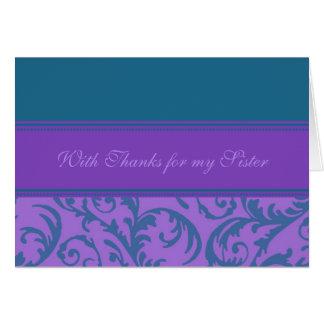 La hermana púrpura del trullo le agradece matrona tarjeta de felicitación