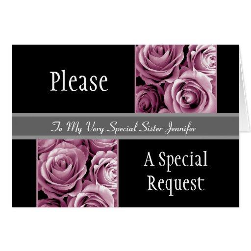 La HERMANA ROSADA de los rosas sea mi criada del Tarjeta De Felicitación